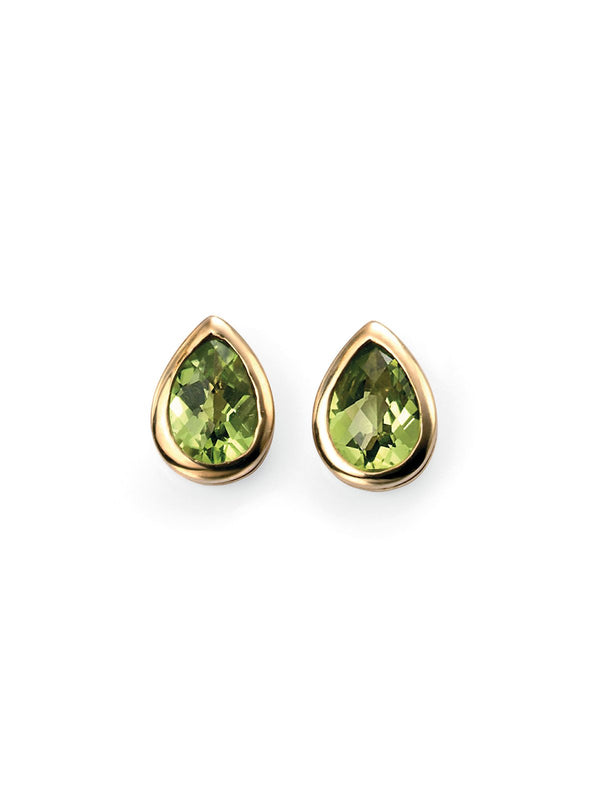 9ct Yellow Gold Peridot Set Teardrop Stud Earrings GE489G