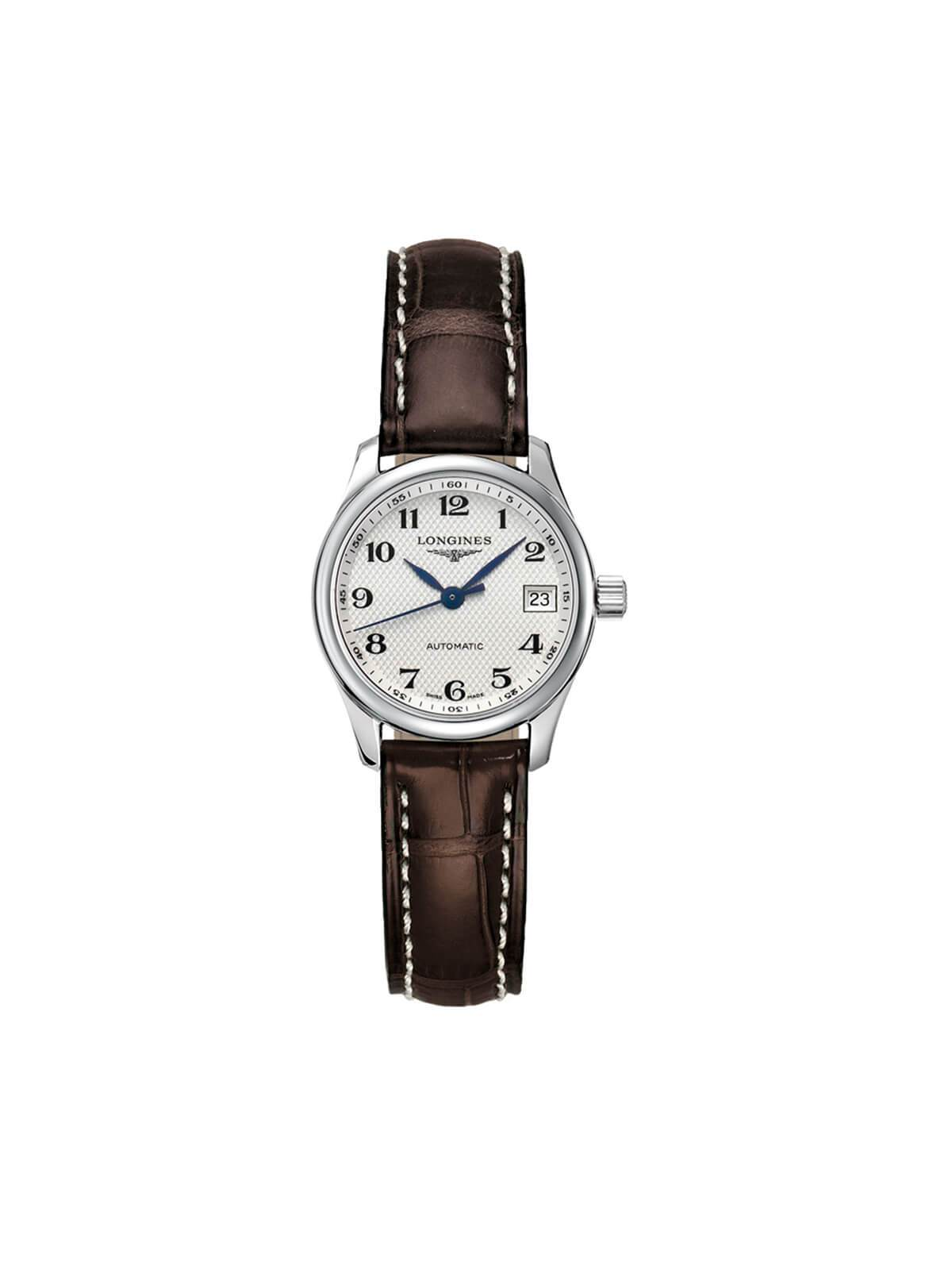 L2.128.4.78.3 Longines Ladies 25.5mm Master Collection Steel Automatic Watch on Leather Strap