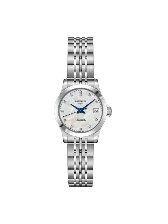 Longines Ladies 26mm Record Stainless Steel Automatic Watch on Bracelet L2.320.4.87.6