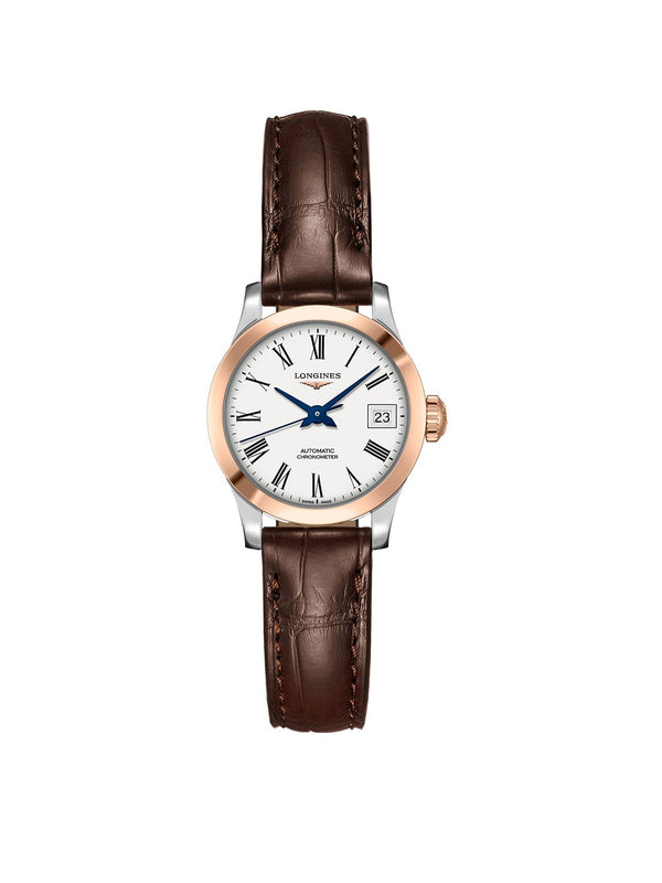 L2.320.5.11.2 Longines Ladies 30mm Record Steel & Rose Gold Automatic Watch on Leather Strap