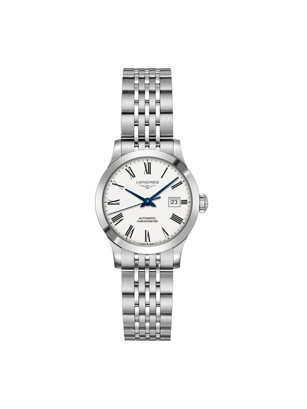 Longines Ladies 30mm Record Stainless Steel Automatic Watch on Bracelet L2.321.4.11.6
