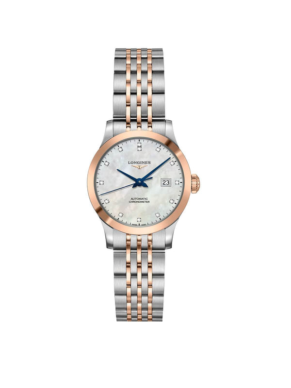 L2.321.5.87.7 Longines Ladies 30mm Record Steel & Rose Gold Automatic Watch on Bracelet