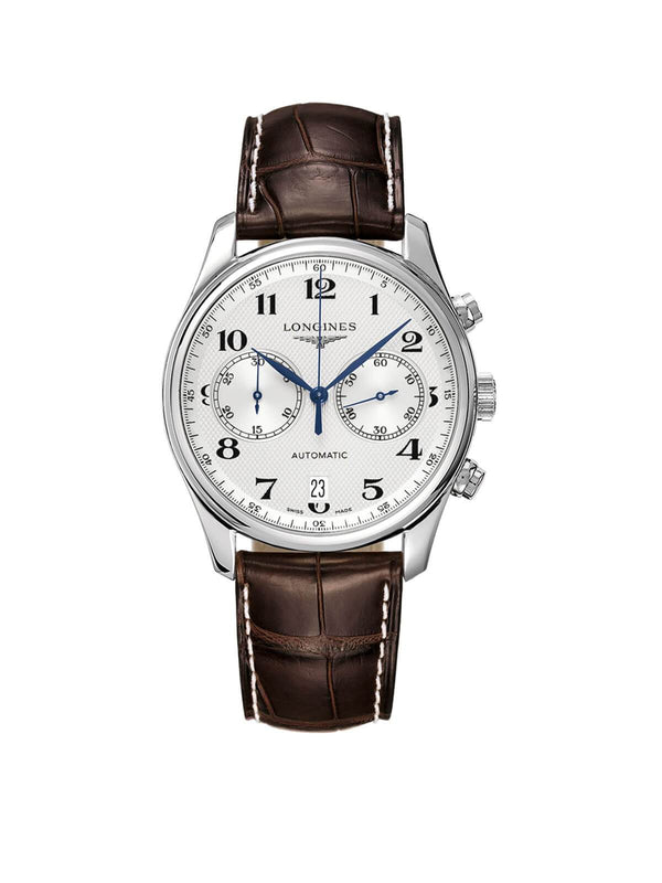 L2.629.4.78.3 Longines Gents 40mm Master Collection Steel Automatic Chronograph Watch on Leather Strap