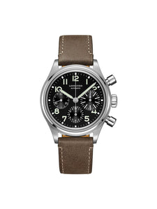 Longines Gents 41mm Aviation BigEye Stainless Steel Automatic Chronograph Watch on Leather Strap L2.816.4.53.2