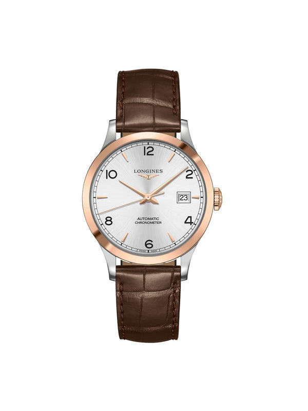 Longines Gents 38.5mm Record Collection Steel and Rose Gold Automatic Watch on Leather Strap L2.820.5.76.2