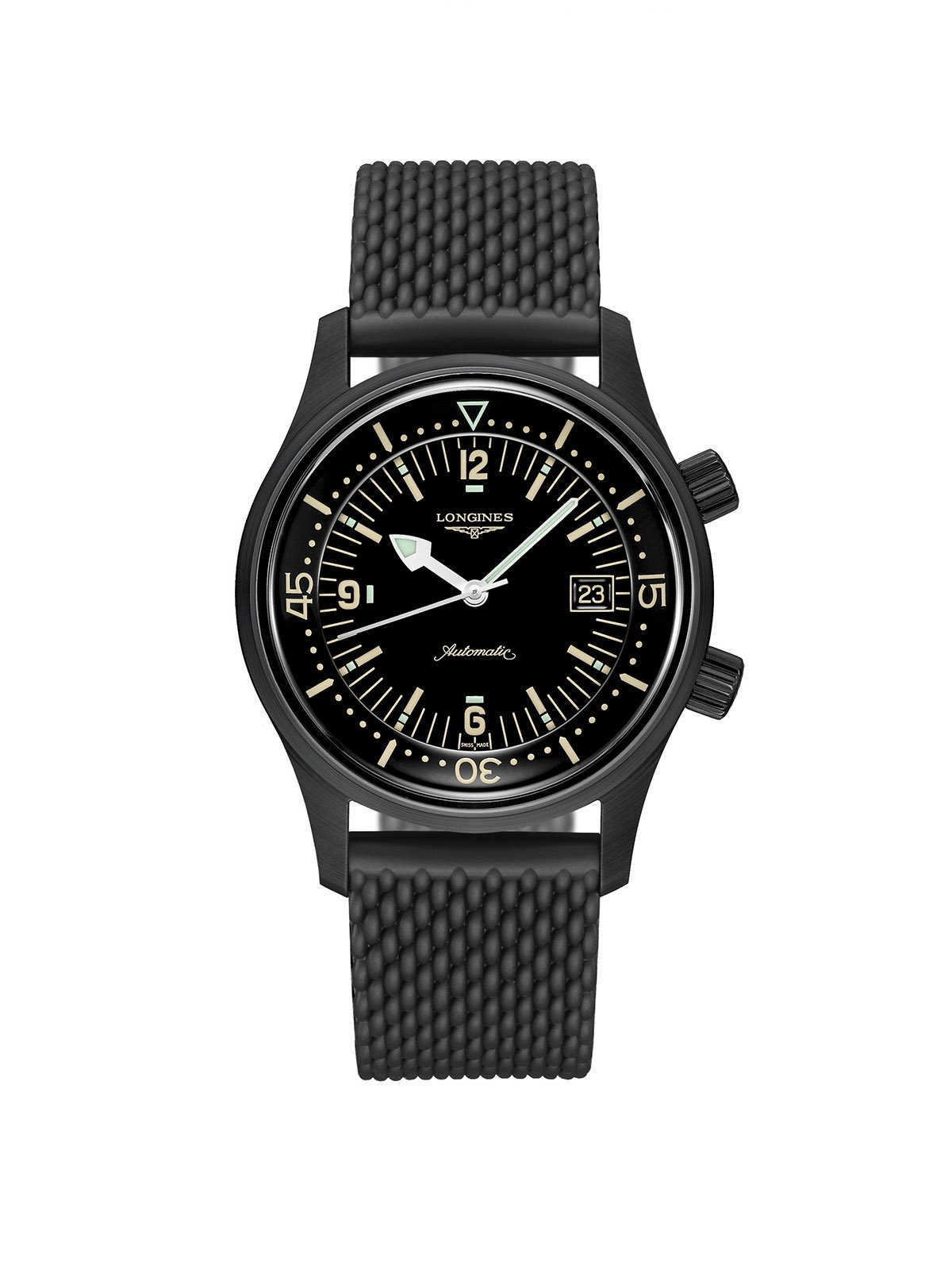Longines Gents 42mm Legend Diver Black PVD Steel Automatic Chronograph Watch on Rubber Strap L3.774.2.50.9