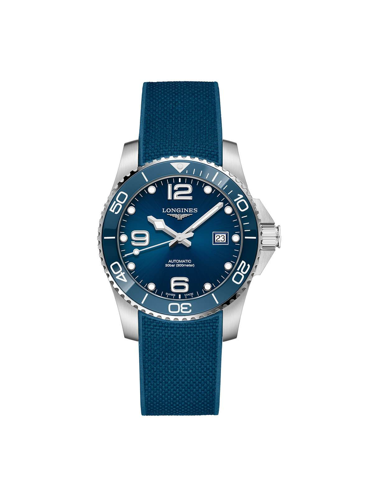 Longines Gents 41mm HydroConquest Stainless Steel Automatic Watch on Rubber Strap L3.781.4.96.9