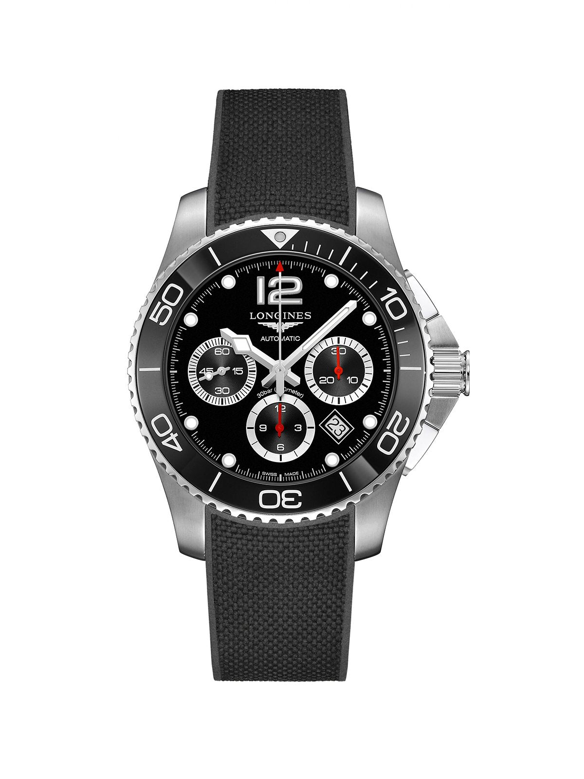 L3.883.4.56.9 Longines Gents 43mm HydroConquest Steel Automatic Chronograph Watch on Rubber Strap