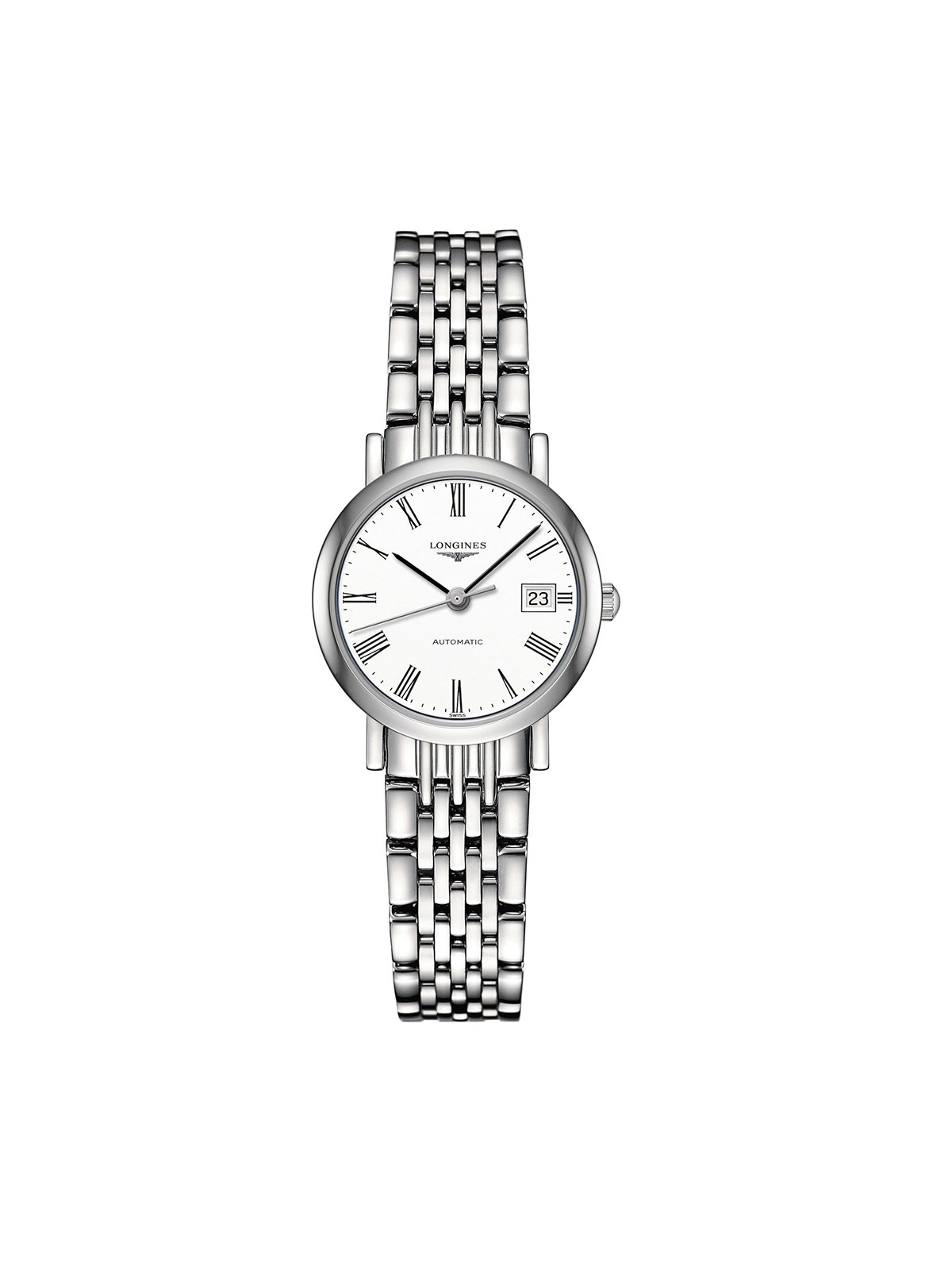 L4.309.4.11.6 Longines Ladies 25.5mm Elegant Collection Steel Automatic Watch on Bracelet