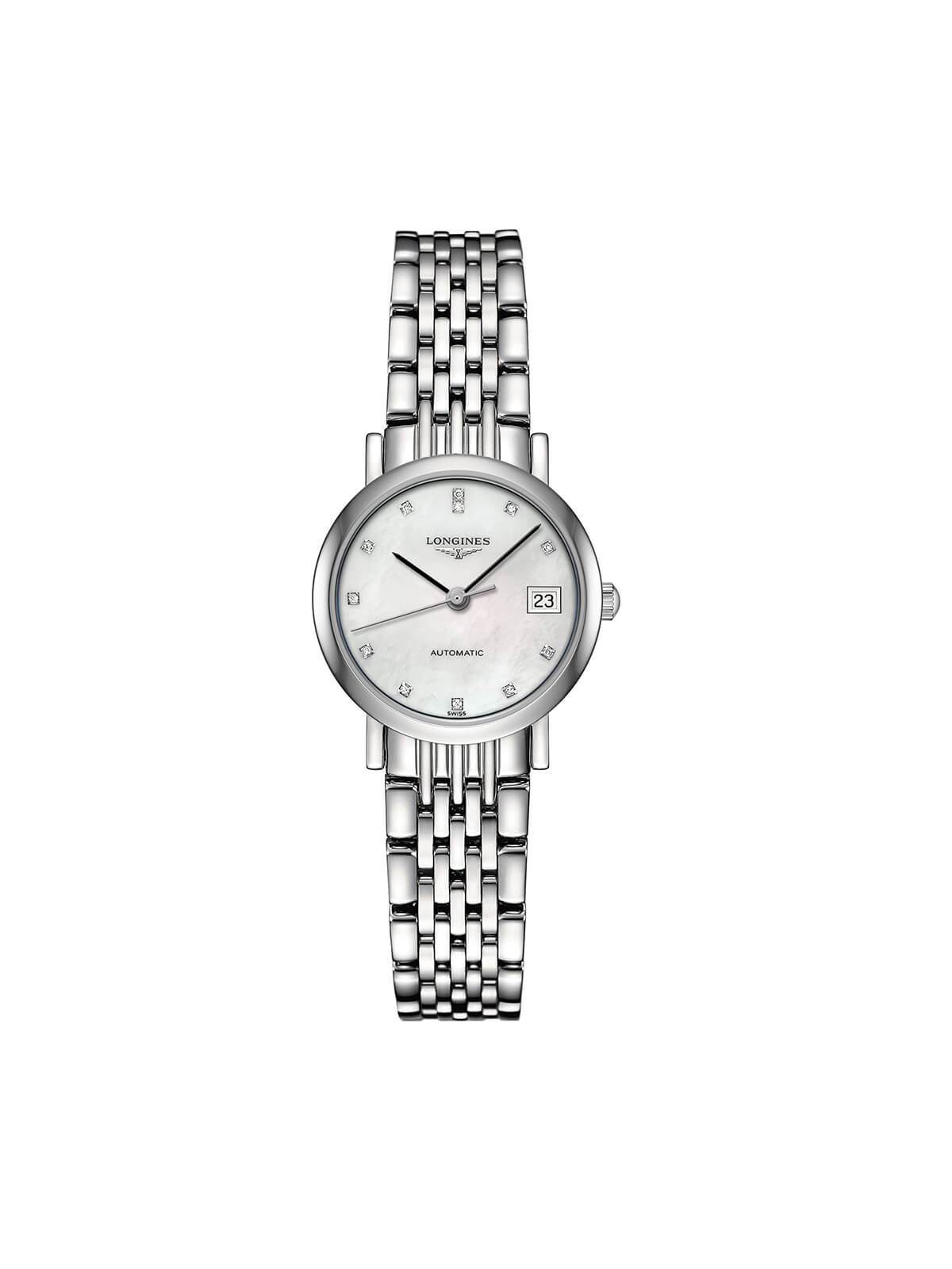 Longines Ladies 25.5mm Elegant Collection Stainless Steel Automatic Watch on Bracelet L4.309.4.87.6