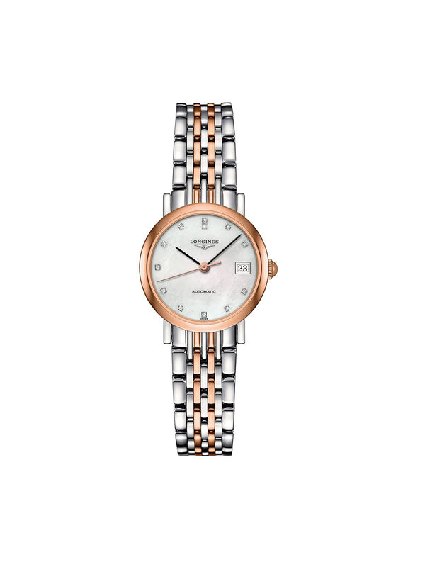 L4.309.5.87.7 Longines Ladies 25.5mm Elegant Collection Steel & Rose Gold Automatic Watch on Bracelet