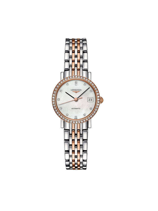 L4.309.5.88.7 Longines Ladies 25.5mm Elegant Collection Steel & Rose Gold Automatic Watch on Bracelet