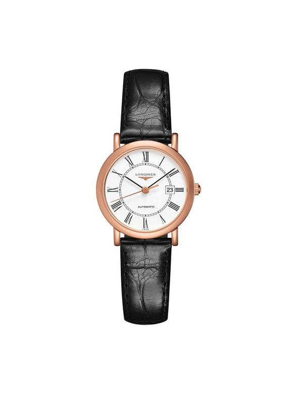 L4.378.8.11.0 Longines Ladies 27.2mm Elegant Collection 18ct Rose Gold Automatic Watch on Leather Strap