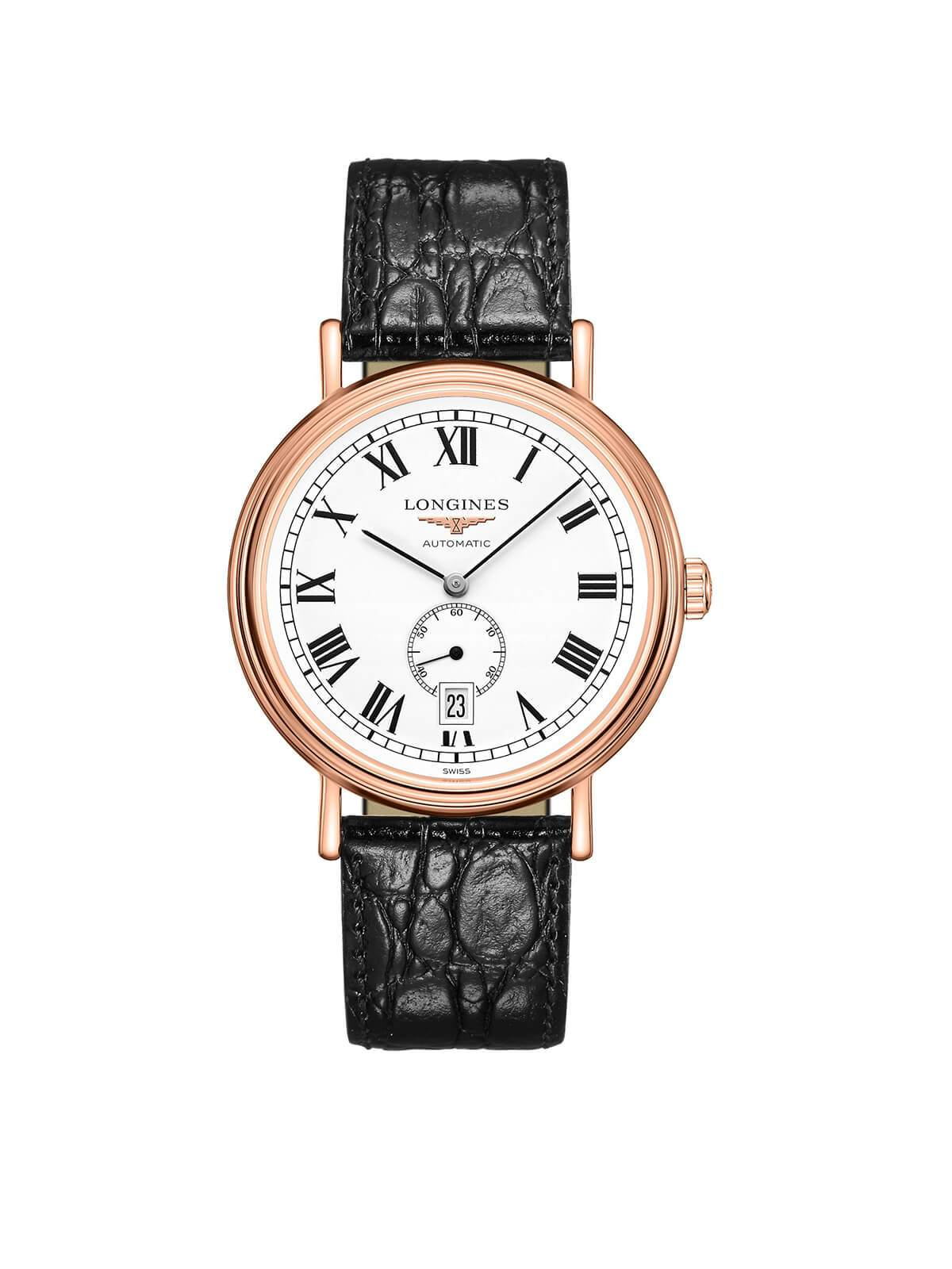 Longines Gents 40mm Presence Rose Gold PVD Steel Automatic Watch on Leather Strap L4.905.1.11.2