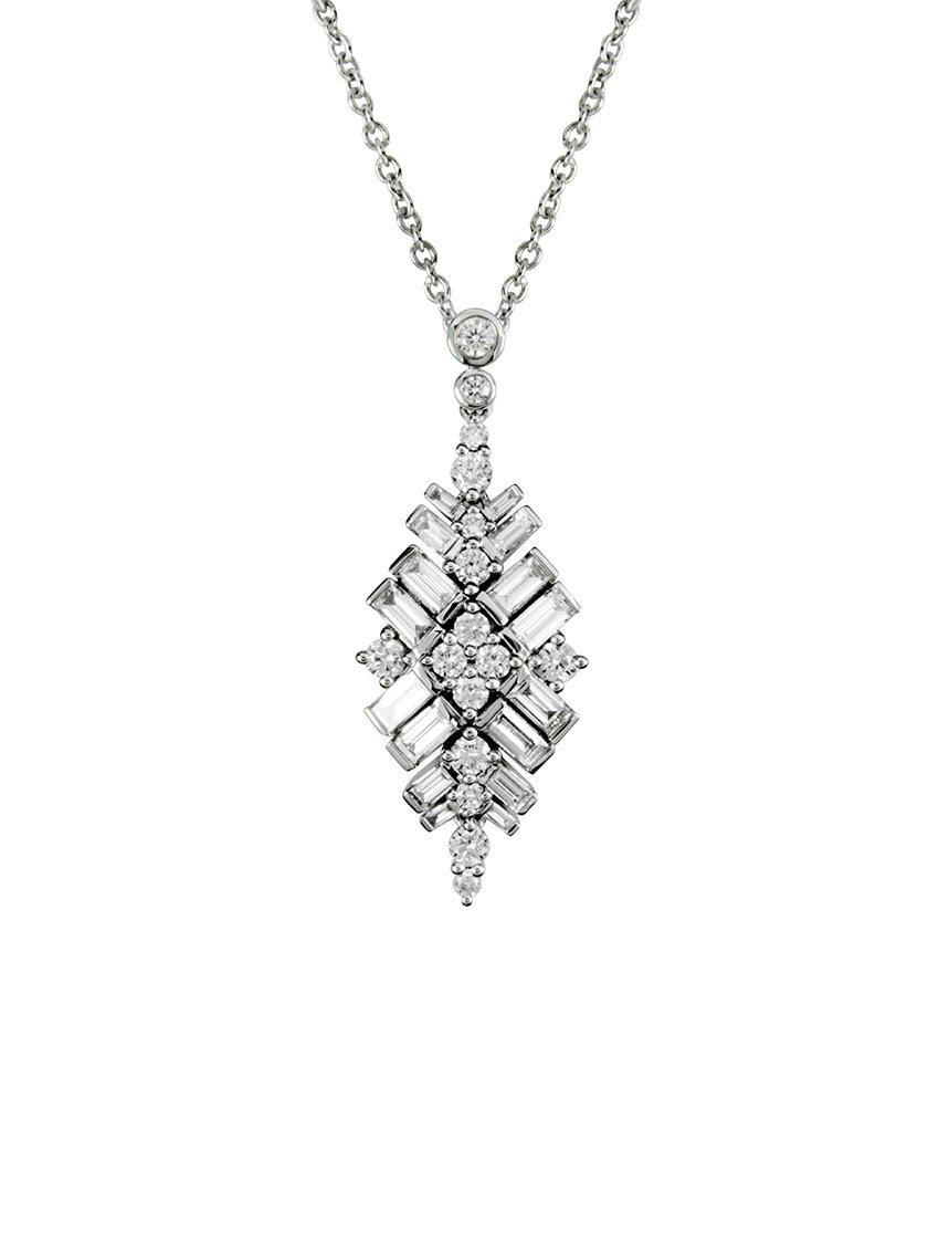 18ct White Gold 1.82ct Diamond Art Deco Style Pendant