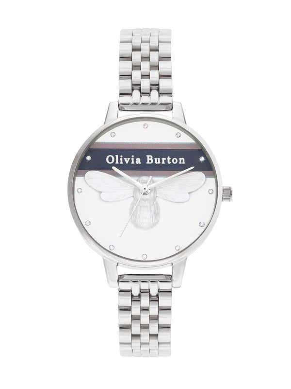 Olivia Burton Ladies 34mm Varsity Lucky Bee Steel Watch on Bracelet OB16VS07