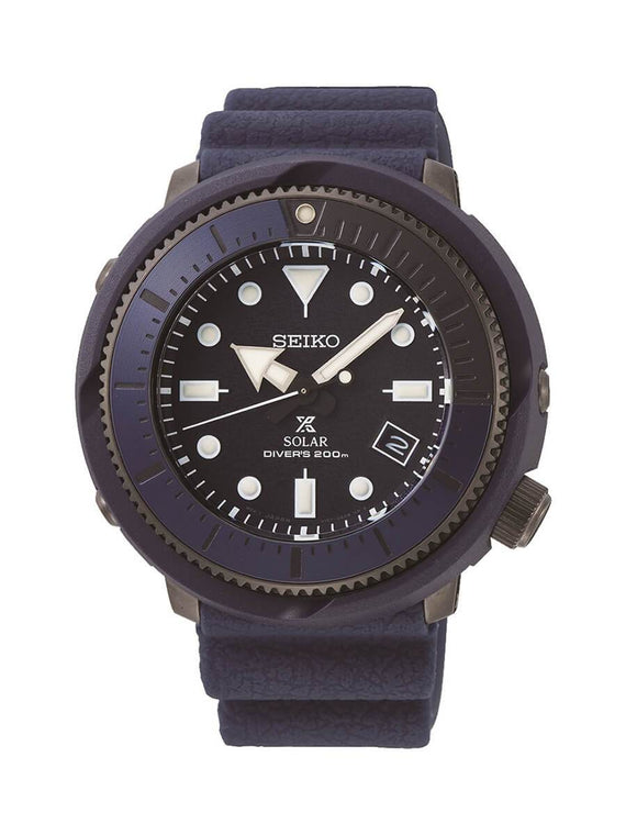 Seiko Gents Prospex Blue and Stainless Steel Solar Watch on Rubber Strap SNE533P1