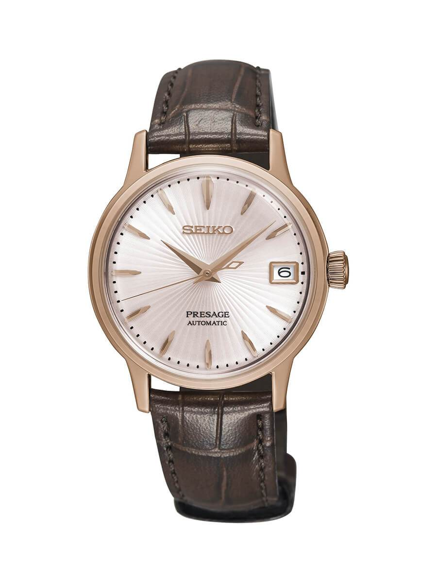 Seiko Ladies Presage Rose Gold Plated Stainless Steel Automatic Watch on Leather Strap SRP852J1