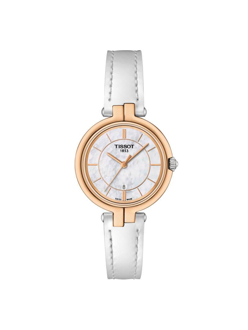 Tissot Ladies 30mm Flamingo Rose PVD Stainless Steel Quartz Watch on Leather Strap T094.210.26.111.01