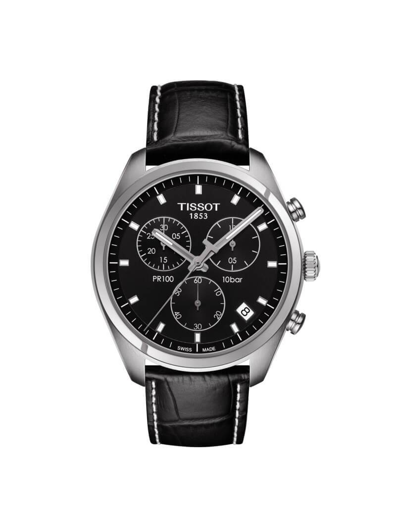 Tissot Gents 41mm PR100 Stainless Steel Quartz Chronograph Watch on Leather Strap T101.417.16.051.00