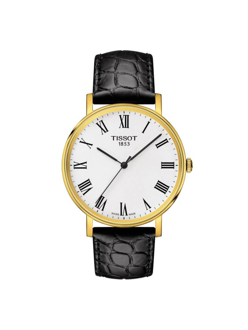 Tissot 38mm Everytime Medium Gold PVD Stainless Steel Quartz Watch on Leather Strap T109.410.36.033.00