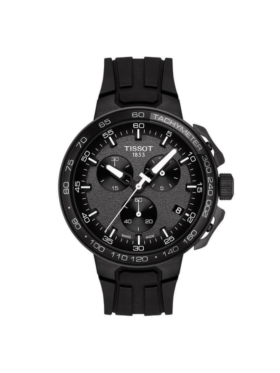 Tissot Gents 44.5mm T-Race Cycling Black PVD Stainless Steel Quartz Chronograph Watch on Rubber Strap T111.417.37.441.03
