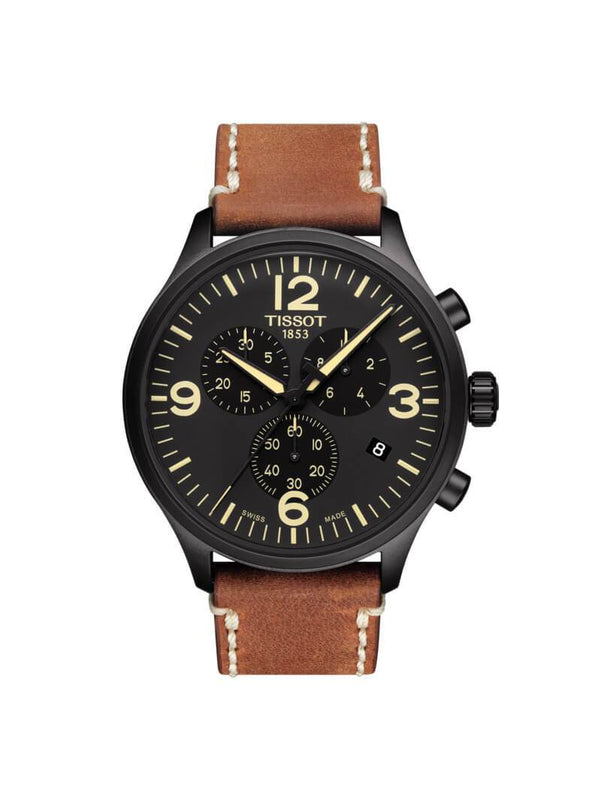 Tissot Gents 45mm Chrono XL Black PVD Stainless Steel Quartz Watch on Leather Strap T116.617.36.057.00