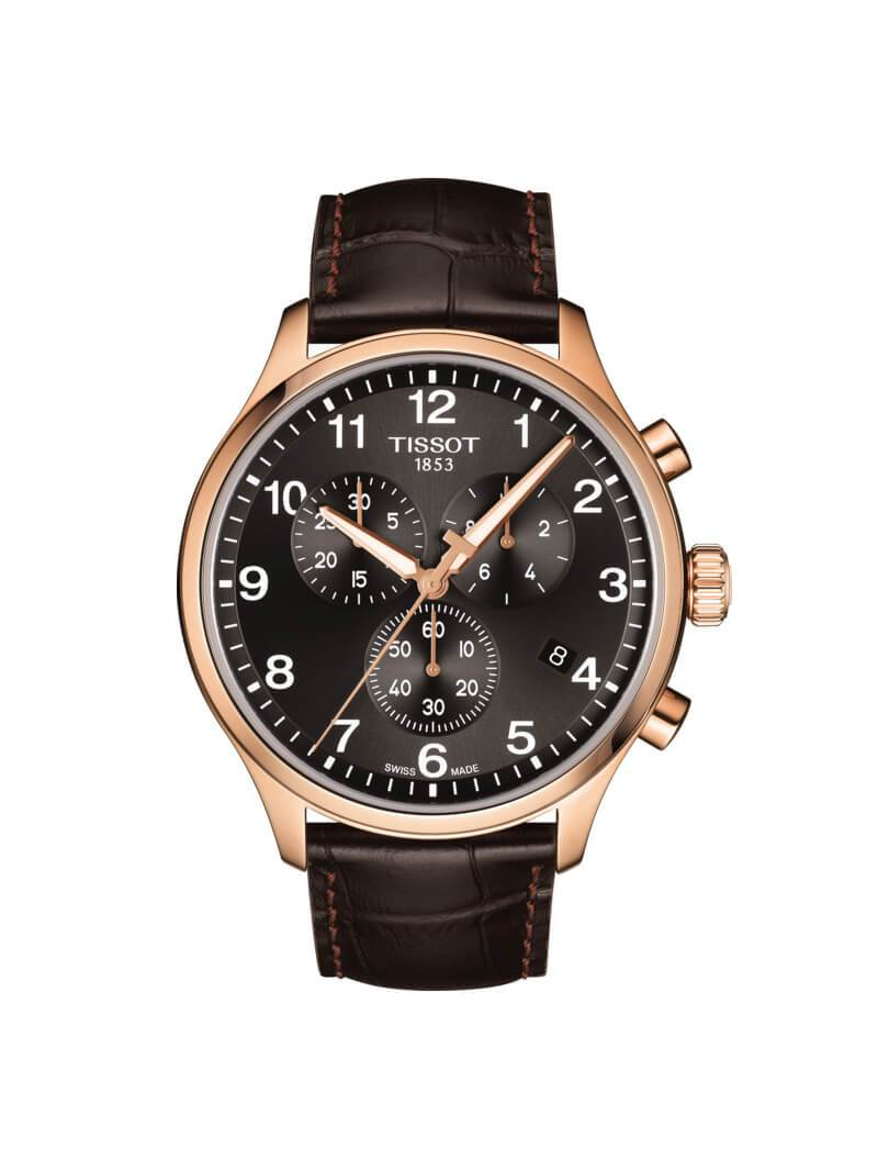 Tissot Gents 45mm Chrono XL Classic Rose Gold PVD Stainless Steel Quartz Watch on Leather Strap T116.617.36.057.01