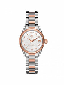 TAG Heuer Ladies 28mm Carrera Steel & Rose Gold Automatic Watch on Bracelet WAR2452.BD0777