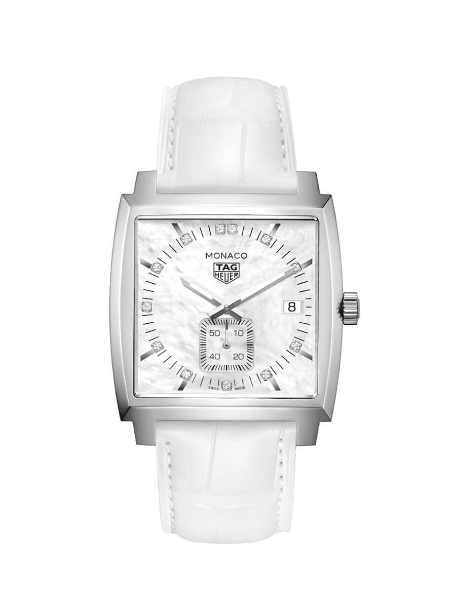 TAG Heuer Ladies 37mm Monaco Stainless Steel Quartz Watch on Leather Strap WAW131B.FC6247