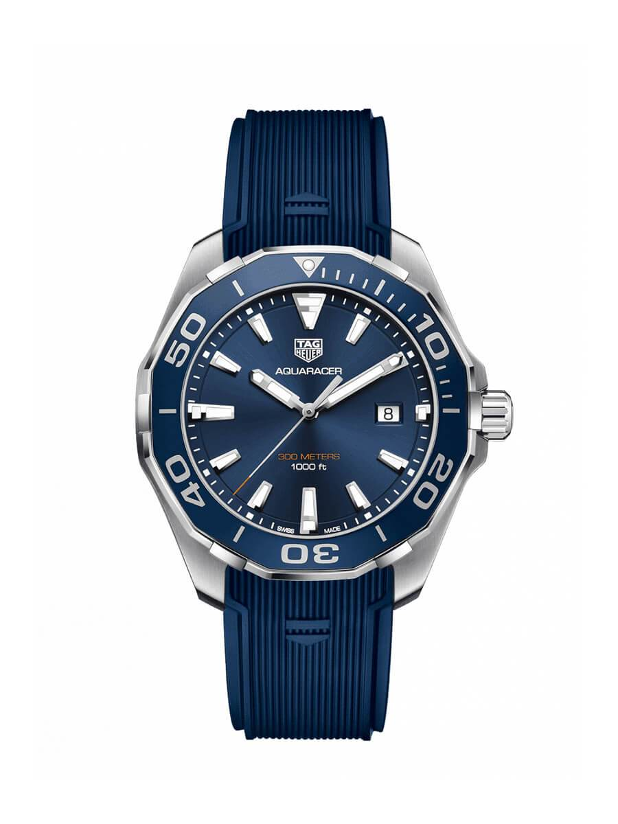 6ab403f2e04 TAG Heuer Gents 43mm Aquaracer Stainless Steel Quartz Watch on Rubber Strap  WAY101C.FT6153