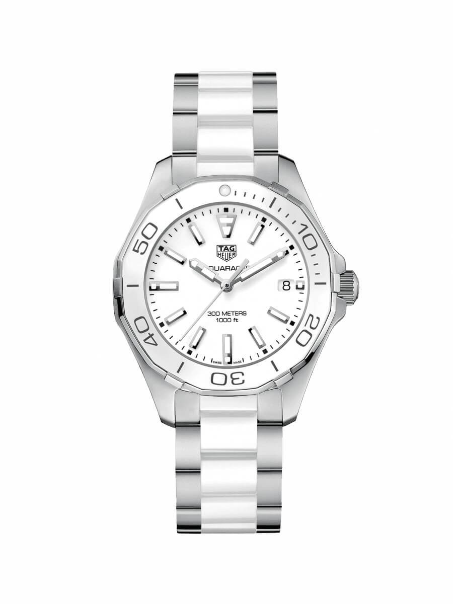 TAG Heuer Ladies 35mm Aquaracer Stainless Steel and White Ceramic Quartz Watch on Bracelet WAY131B.BA0914