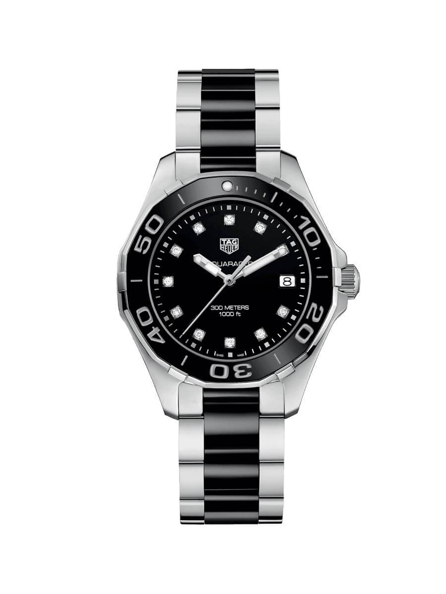TAG Heuer Ladies 35mm Aquaracer Stainless Steel and Black Ceramic Quartz Watch on Bracelet WAY131C.BA0913
