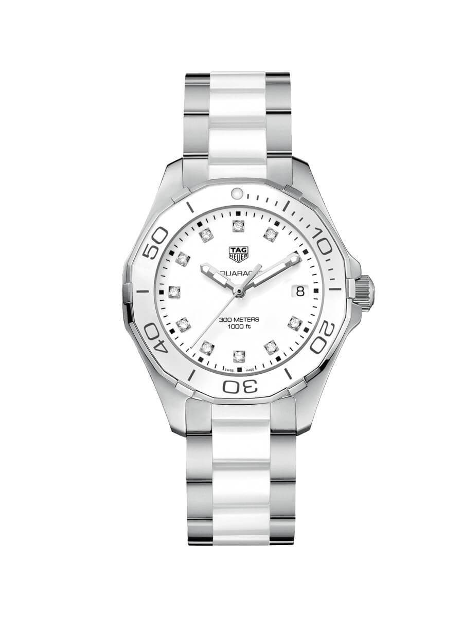 TAG Heuer Ladies 35mm Aquaracer Stainless Steel and White Ceramic Quartz Watch on Bracelet WAY131D.BA0914
