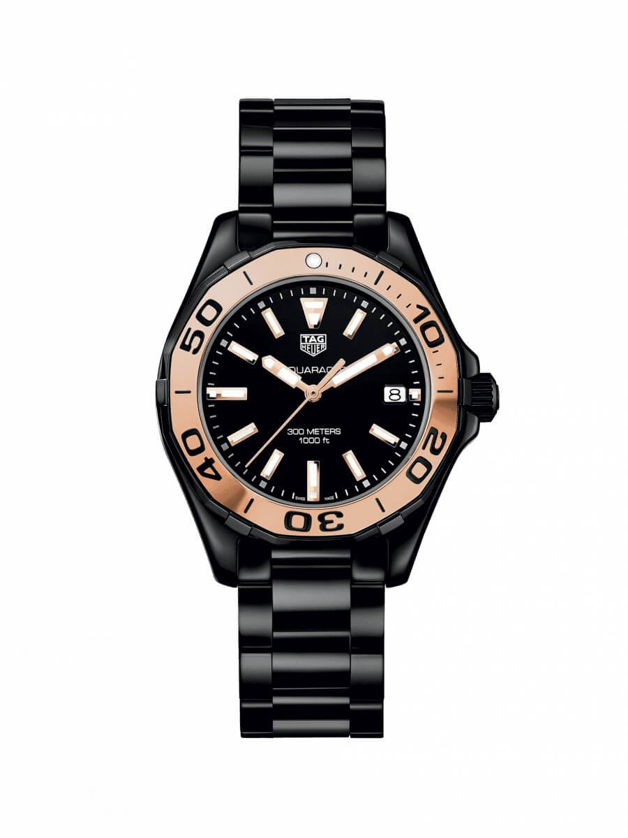 TAG Heuer Ladies 35mm Aquaracer Black Ceramic Quartz Watch on Bracelet WAY1355.BH0716