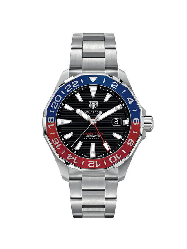 TAG Heuer Gents 43mm Aquaracer Calibre 7 GMT Stainless Steel Automatic Watch on Bracelet WAY201F.BA0927