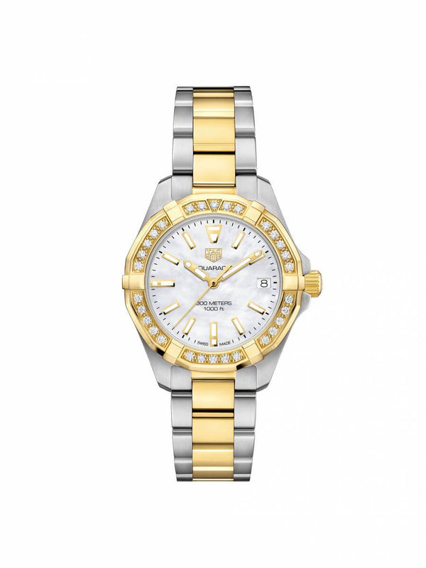 TAG Heuer Ladies 32mm Aquaracer Bi-Colour Stainless Steel Quartz Watch on Bracelet WBD1321.BB0320