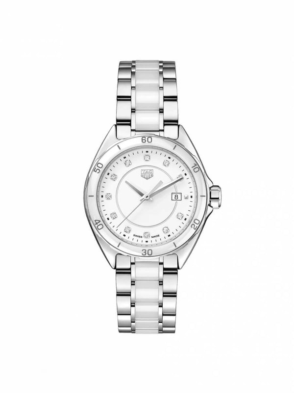 TAG Heuer Ladies 32mm Formula 1 Steel & White Ceramic Watch on Bracelet WBJ141AD.BA0974