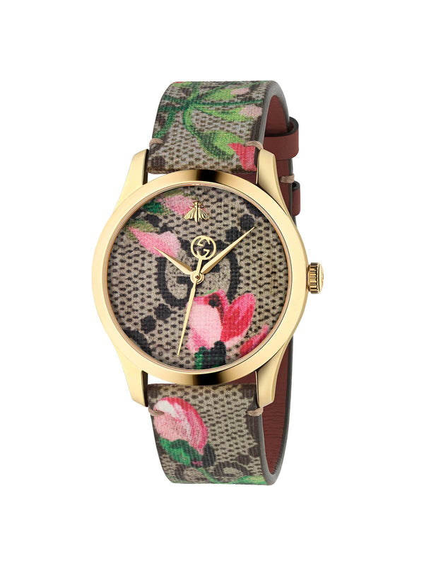 YA1264038A Gucci Ladies 38mm Gold PVD Steel G-Timeless Quartz Watch on Canvas Strap