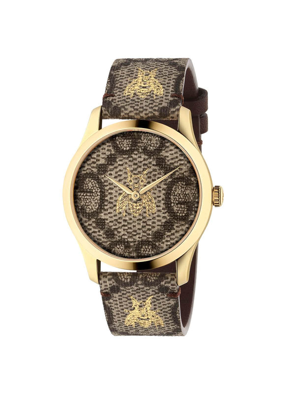 YA1264068A Gucci Ladies 38mm Gold PVD Steel G-Timeless Quartz Watch on Canvas Strap