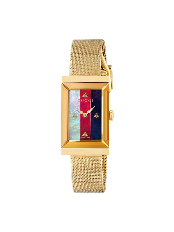 YA147410 Gucci Ladies 21 x 34mm Gold PVD Steel G-Frame Quartz Watch on Mesh Bracelet