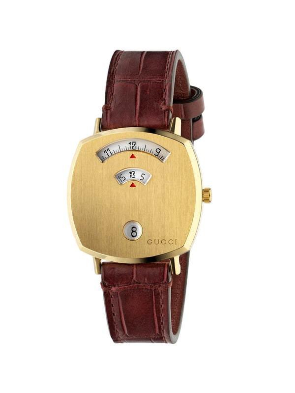 Gucci 35mm Gold PVD Steel Gucci Grip Quartz Watch on Leather Strap YA157402
