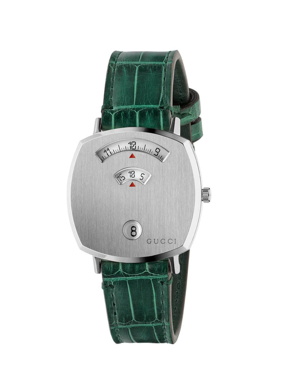 Gucci 35mm Steel Gucci Grip Quartz Watch on Leather Strap YA157404