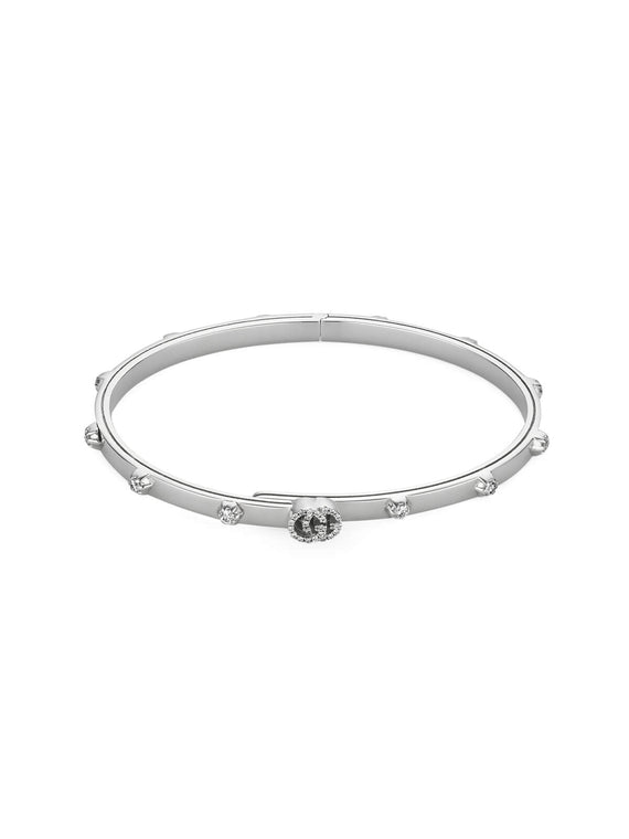Gucci GG Running Bangle in 18ct White Gold with Diamonds YBA554573001017