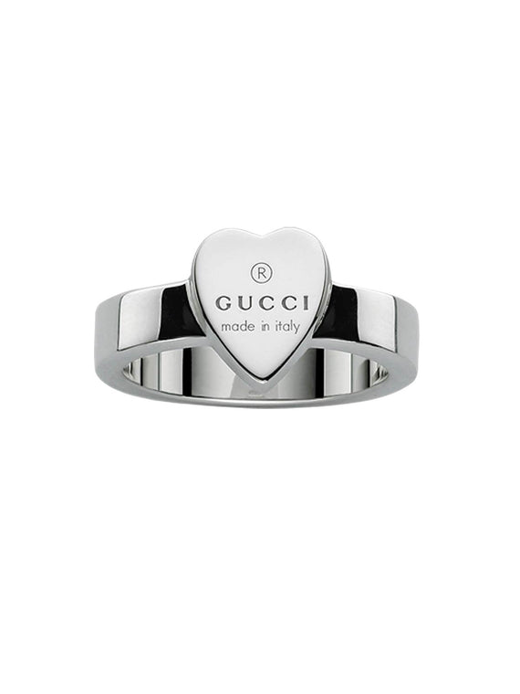 Gucci Trademark Heart Ring in Silver - Size Q YBC223867001017