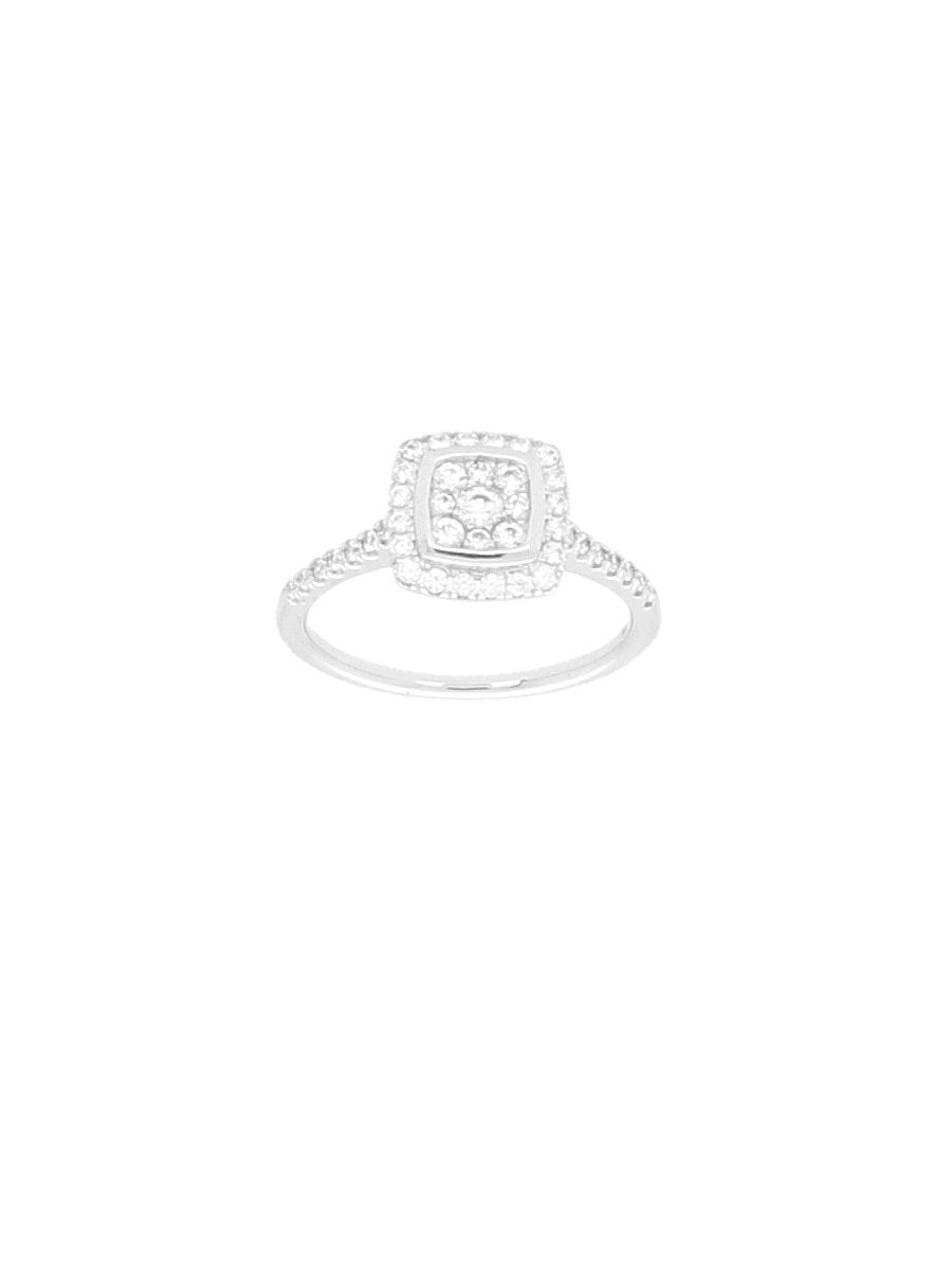 Silver & Cubic Zirconia Cushion Cluster Halo Ring with Zirconia Shoulders