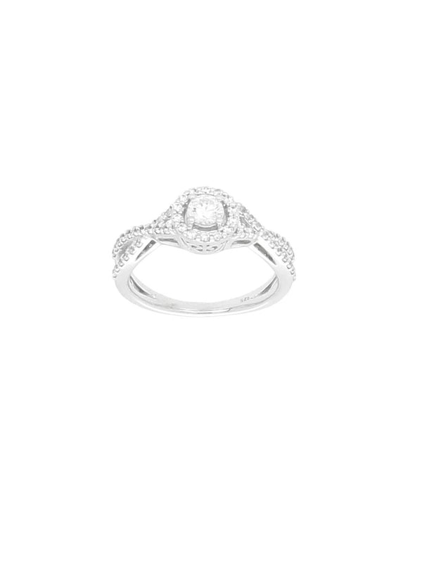 Silver & Cubic Zirconia Halo Ring with Zirconia Twist Shoulders