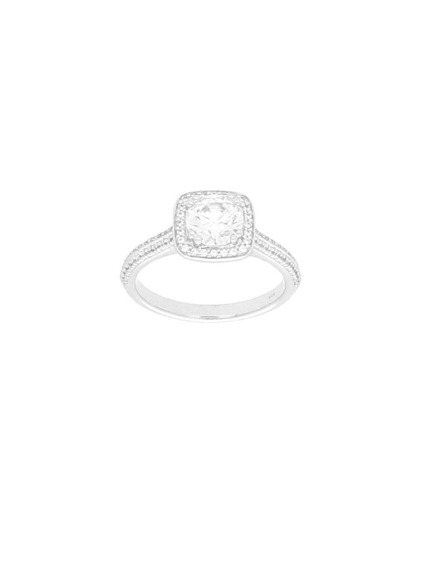 Silver & Cubic Zirconia Cushion Halo Ring with Zirconia Shoulders