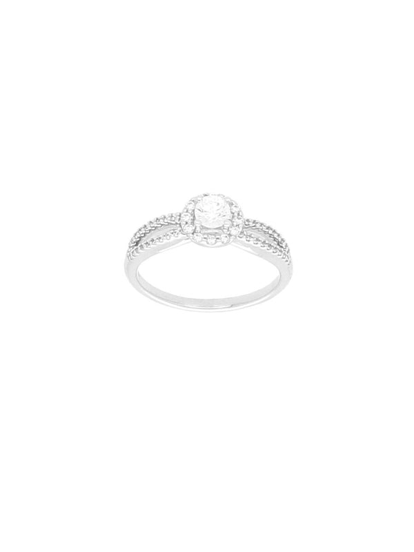 Silver & Cubic Zirconia Ring with Open Zirconia Shoulders