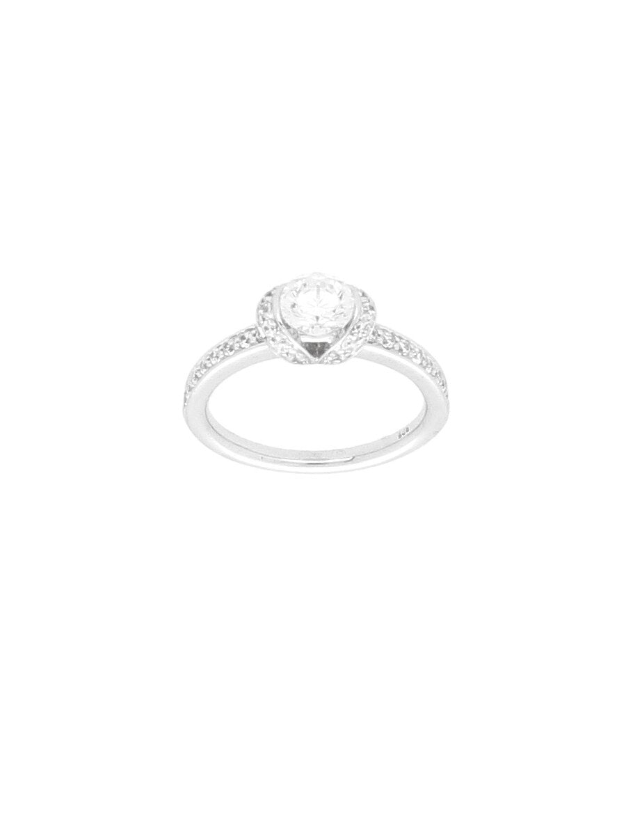 Silver & Cubic Zirconia Single Stone Ring with Zirconia Shoulders